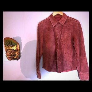Vintage Suede Leather Button Up